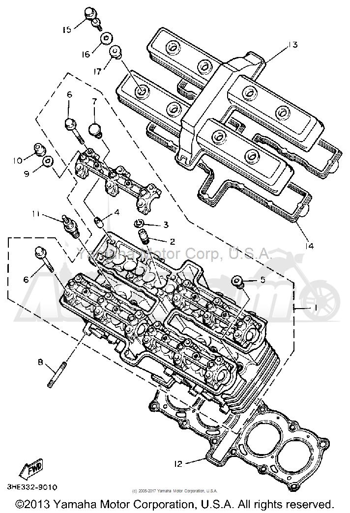 Запчасти для Мотоцикла Yamaha 1991 FZR600RB Раздел: CYLINDER HEAD   головка цилиндра