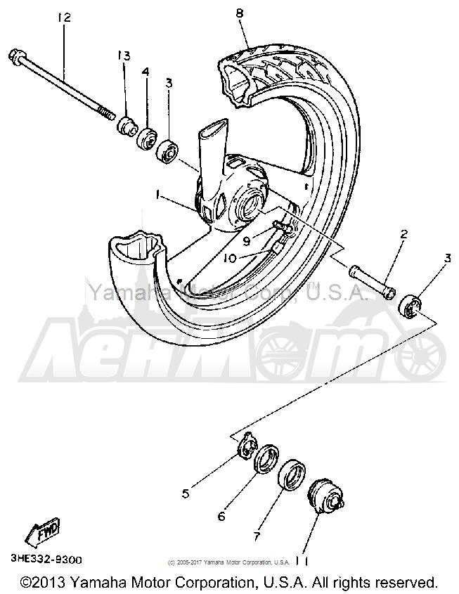 Запчасти для Мотоцикла Yamaha 1991 FZR600RB Раздел: FRONT WHEEL   переднее колесо