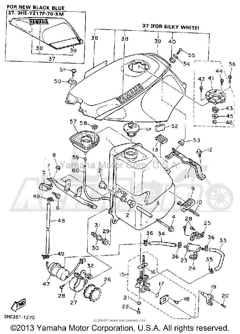 Запчасти для Мотоцикла Yamaha 1991 FZR600RB Раздел: FUEL TANK | топливный бак