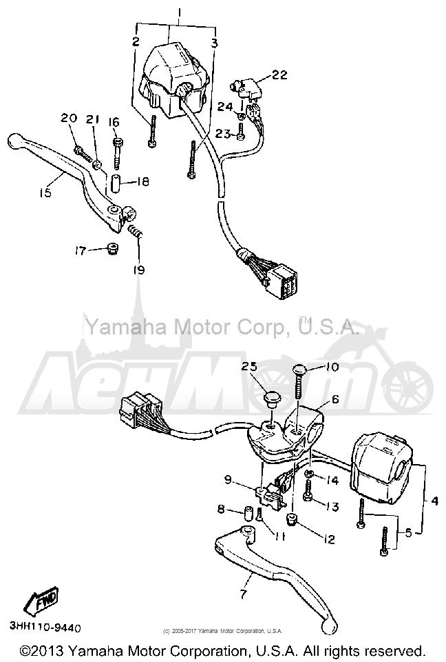 Запчасти для Мотоцикла Yamaha 1991 FZR600RB Раздел: HANDLE SWITCH LEVER | ручной переключатель рычаг