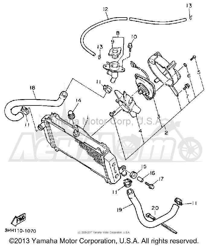 Запчасти для Мотоцикла Yamaha 1991 FZR600RB Раздел: RADIATOR HOSE   радиатор шланг