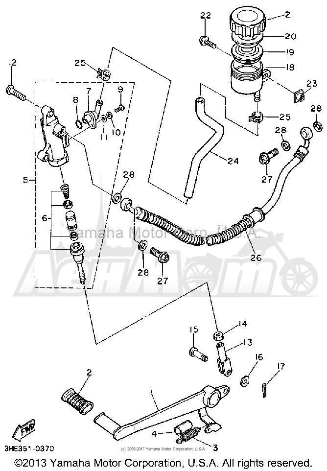 Запчасти для Мотоцикла Yamaha 1991 FZR600RB Раздел: REAR MASTER CYLINDER | зад главный цилиндр