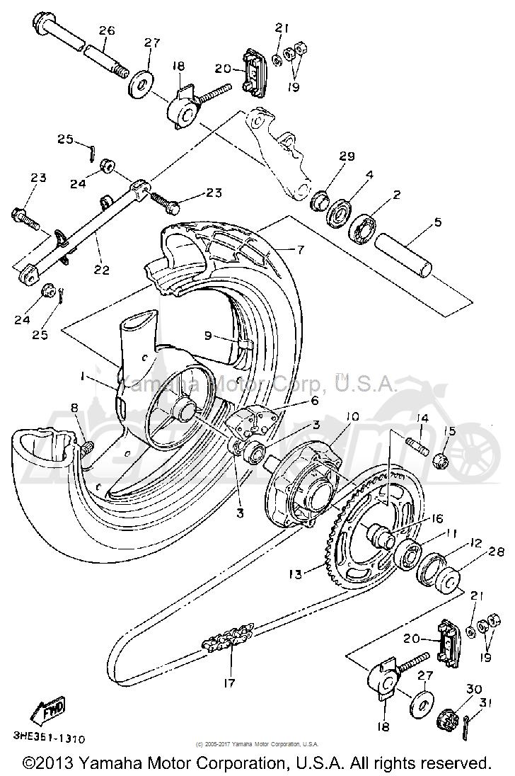 Запчасти для Мотоцикла Yamaha 1991 FZR600RB Раздел: REAR WHEEL | заднее колесо