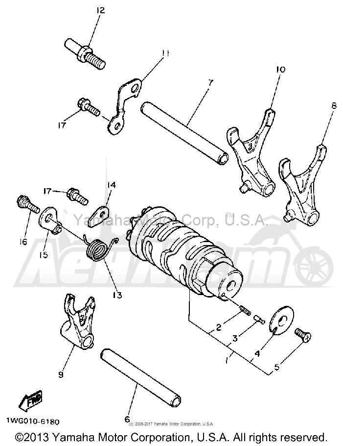 Запчасти для Мотоцикла Yamaha 1991 FZR600RB Раздел: SHIFT CAM FORK | переключение кулачок вилка