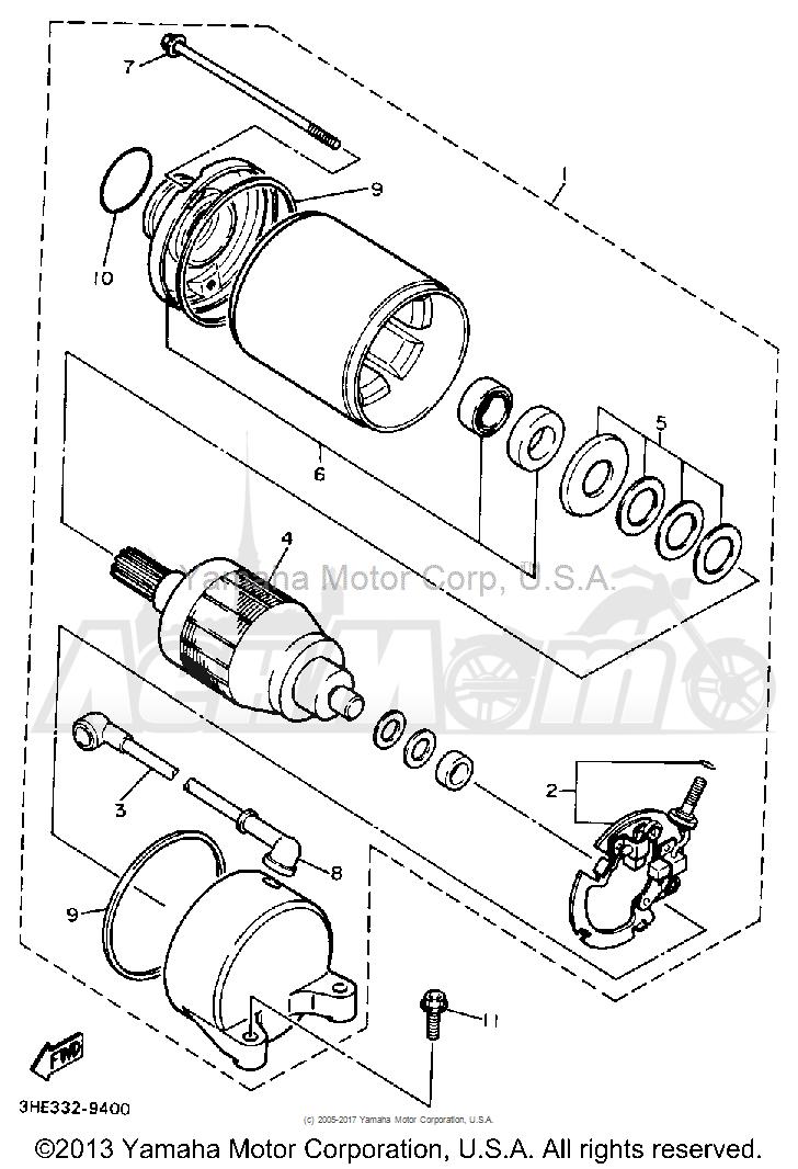 Запчасти для Мотоцикла Yamaha 1991 FZR600RB Раздел: STARTING MOTOR | электростартер