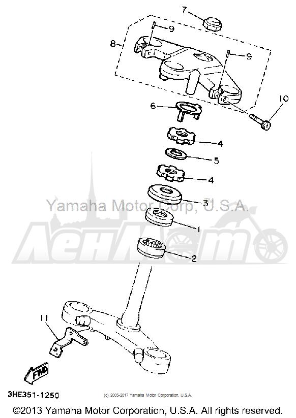 Запчасти для Мотоцикла Yamaha 1991 FZR600RB Раздел: STEERING   рулевое управление