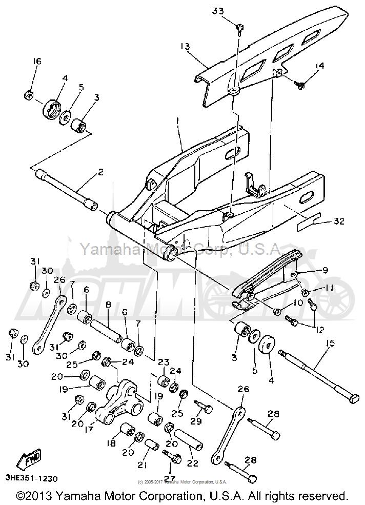 Запчасти для Мотоцикла Yamaha 1991 FZR600RB Раздел: SWING ARM | маятник