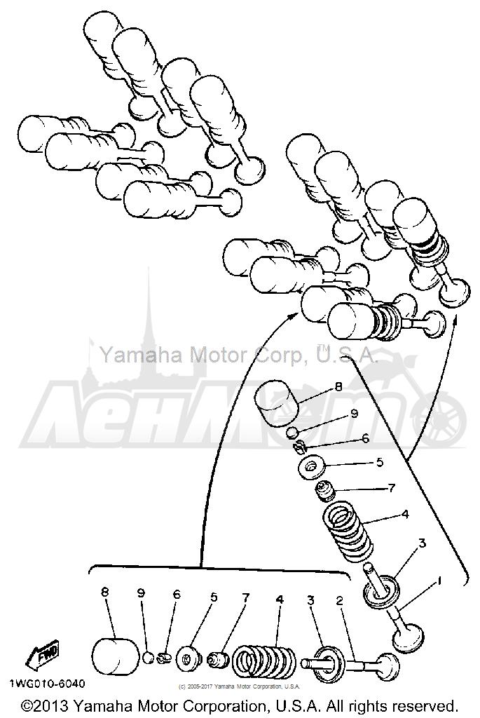 Запчасти для Мотоцикла Yamaha 1991 FZR600RB Раздел: VALVE   клапан
