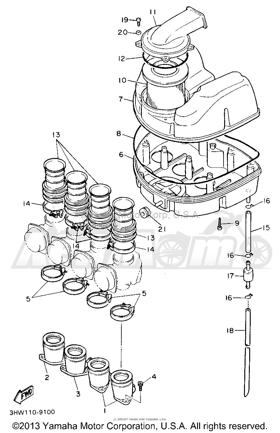 Запчасти для Мотоцикла Yamaha 1991 FZR600RBC Раздел: AIR FILTER | воздушный фильтр