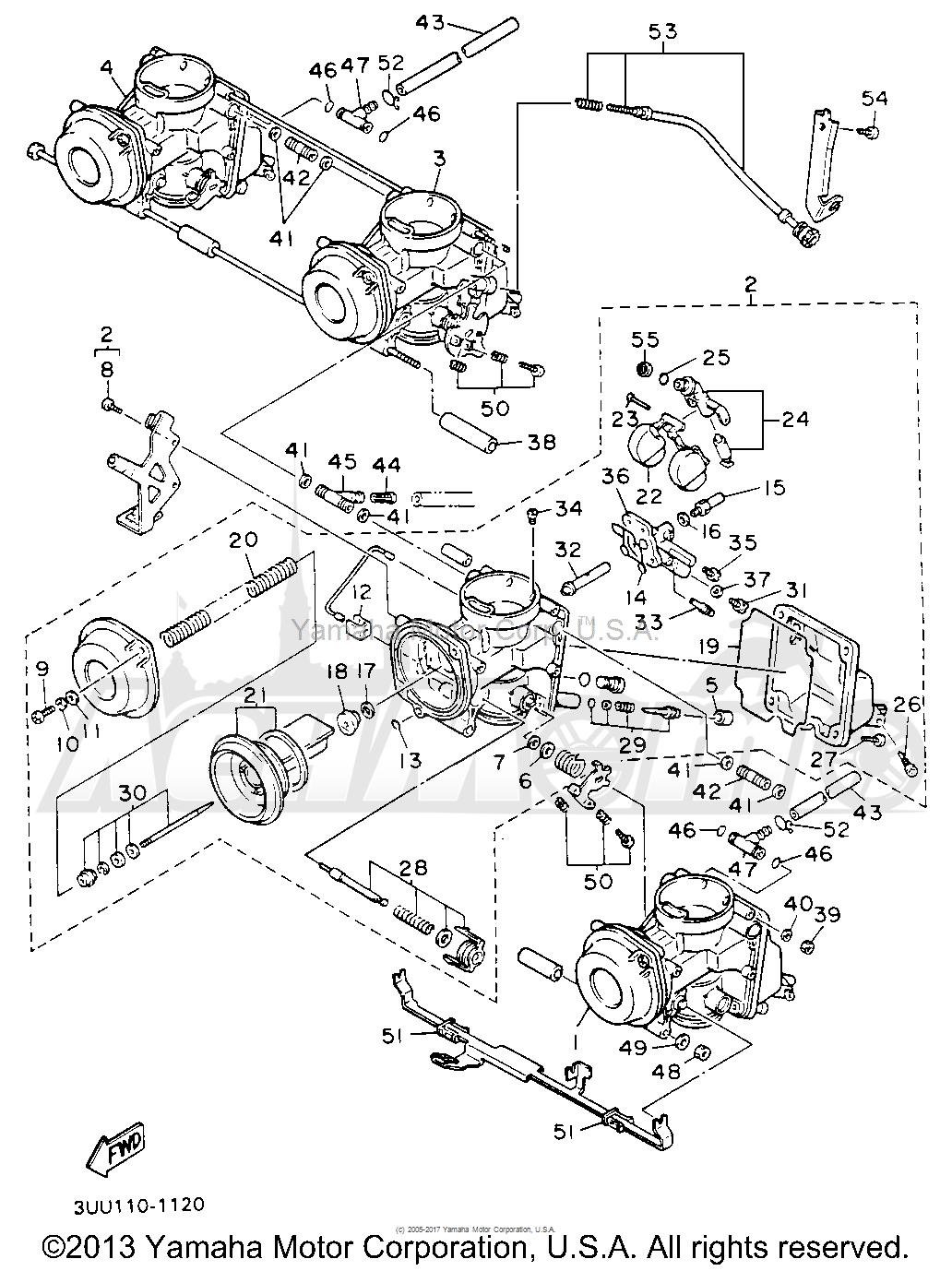 Запчасти для Мотоцикла Yamaha 1991 FZR600RBC Раздел: CARBURETOR | карбюратор