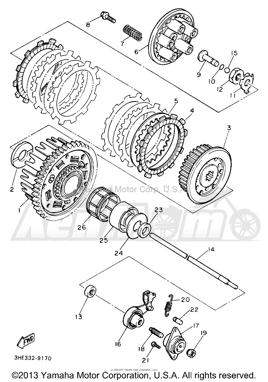 Запчасти для Мотоцикла Yamaha 1991 FZR600RBC Раздел: CLUTCH | сцепление