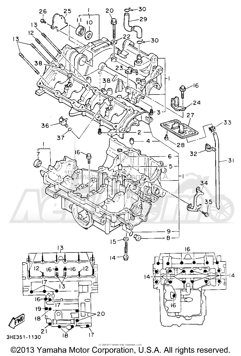 Запчасти для Мотоцикла Yamaha 1991 FZR600RBC Раздел: CRANKCASE   картер