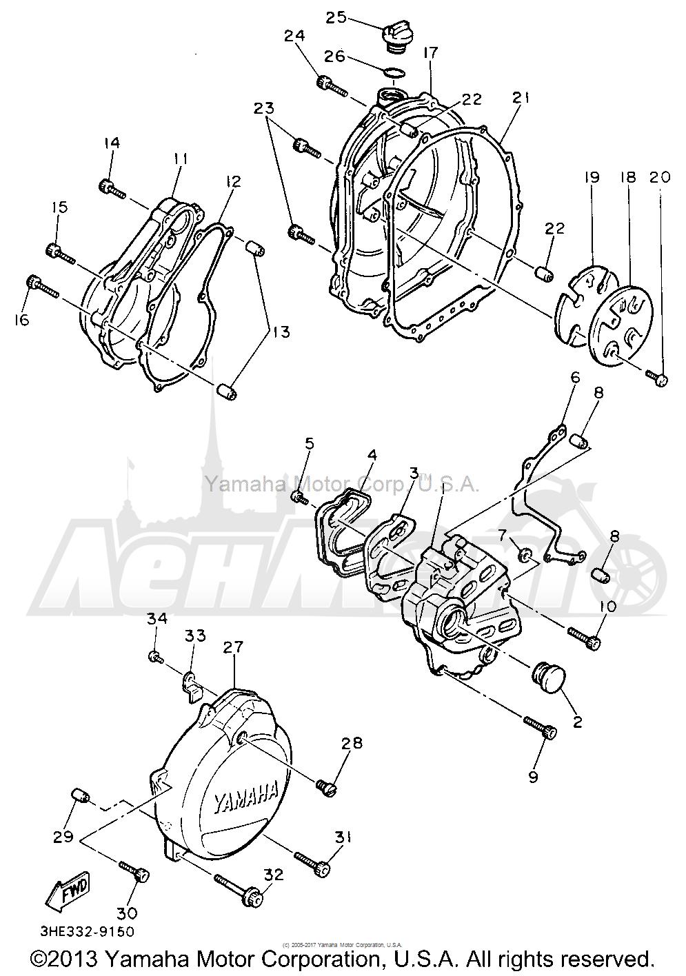 Запчасти для Мотоцикла Yamaha 1991 FZR600RBC Раздел: CRANKCASE COVER 1 | крышка картера 1