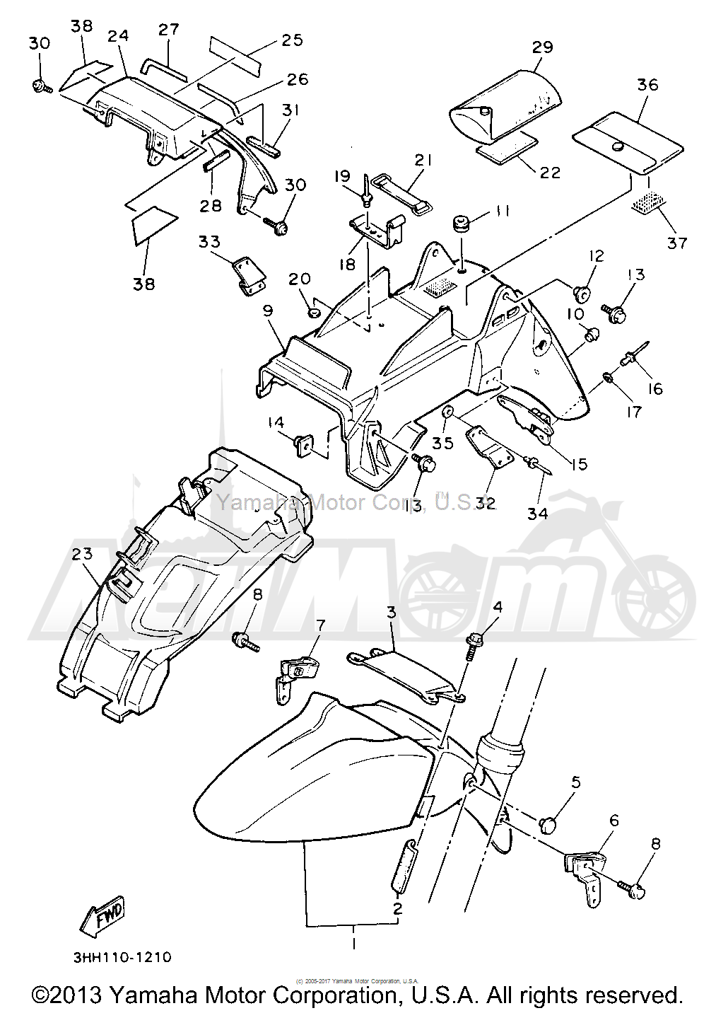 Запчасти для Мотоцикла Yamaha 1991 FZR600RBC Раздел: FENDER   крыло