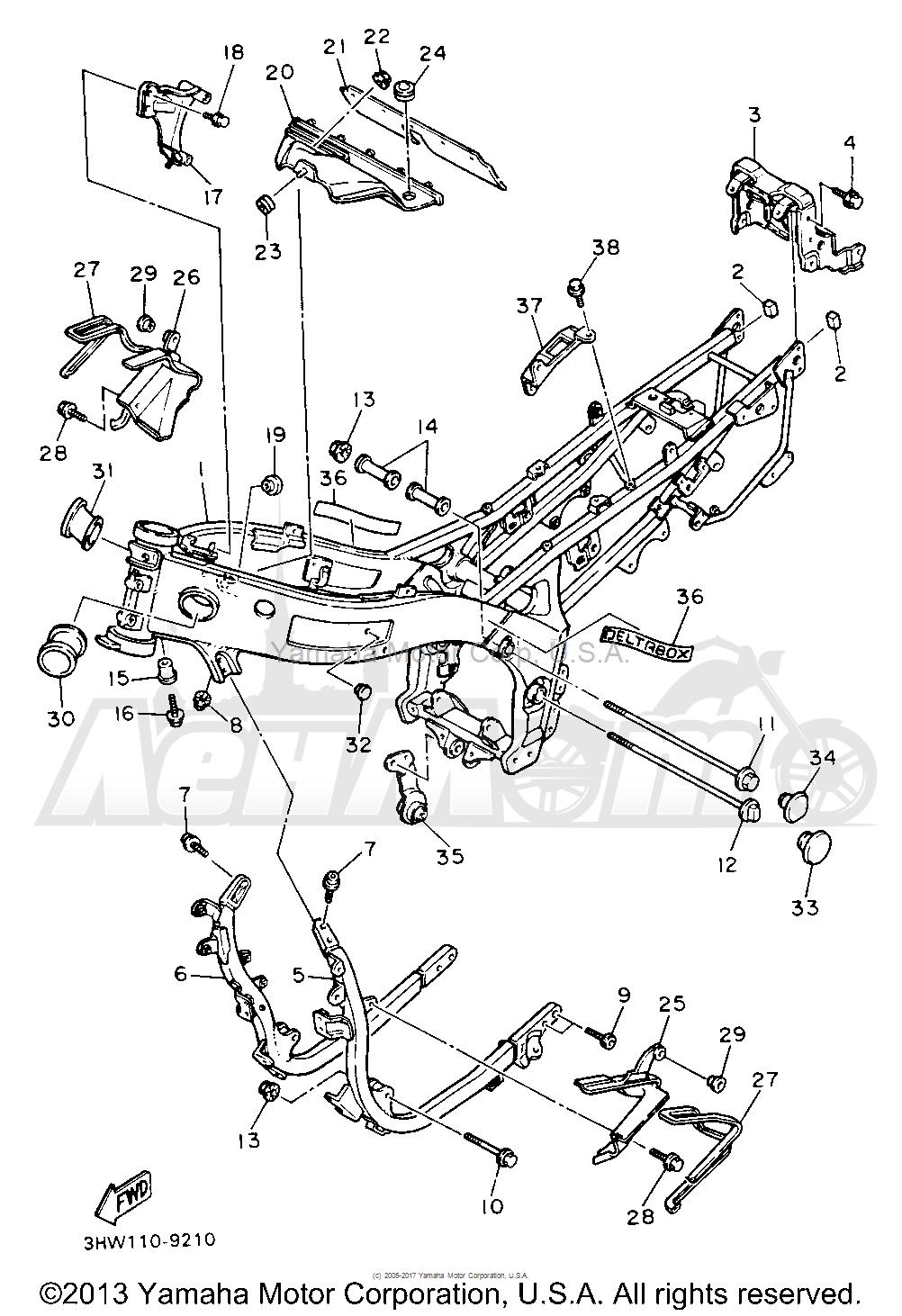 Запчасти для Мотоцикла Yamaha 1991 FZR600RBC Раздел: FRAME | рама