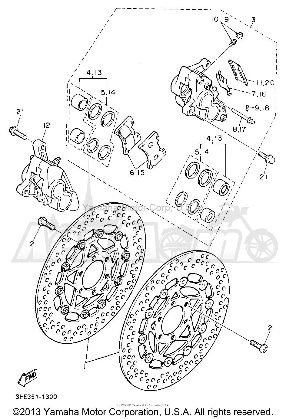 Запчасти для Мотоцикла Yamaha 1991 FZR600RBC Раздел: FRONT BRAKE CALIPER | передний тормоз суппорт