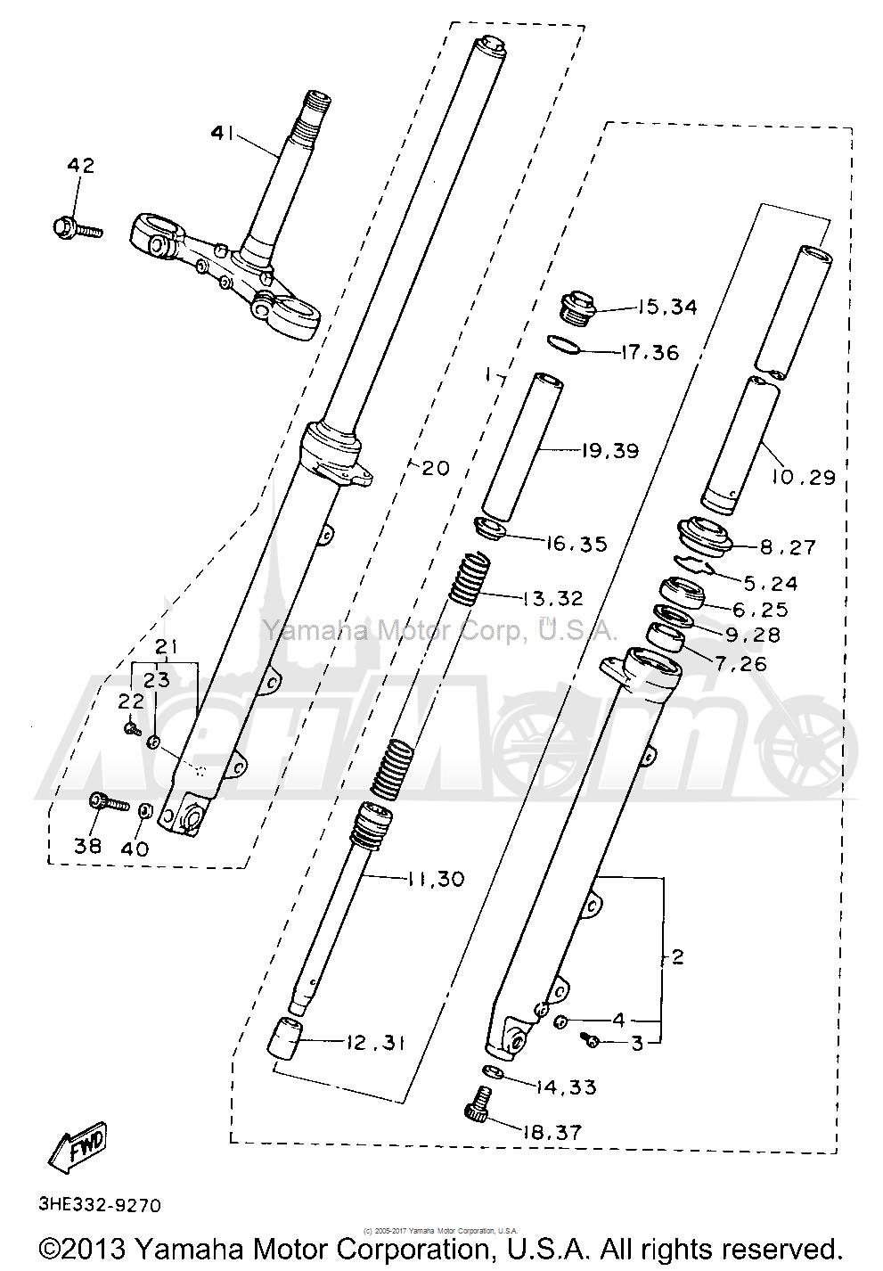 Запчасти для Мотоцикла Yamaha 1991 FZR600RBC Раздел: FRONT FORK | передняя вилка