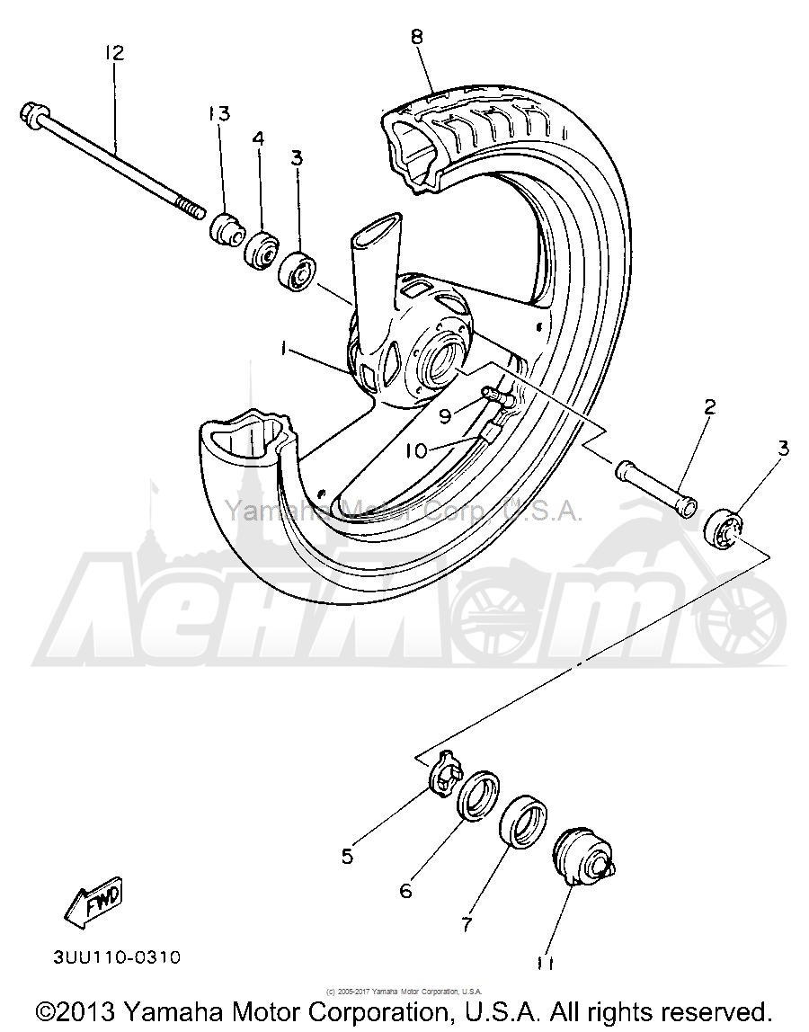 Запчасти для Мотоцикла Yamaha 1991 FZR600RBC Раздел: FRONT WHEEL   переднее колесо