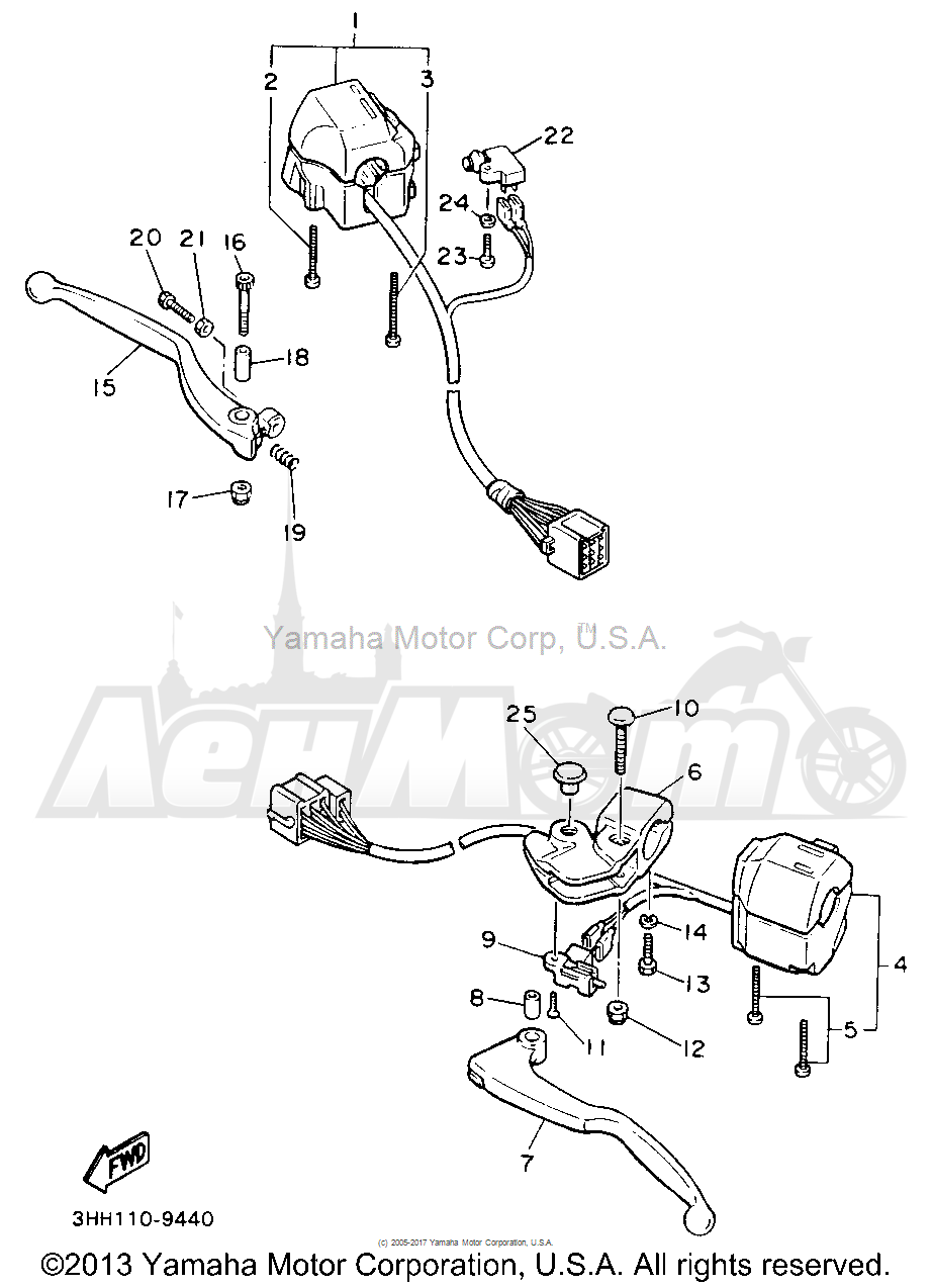 Запчасти для Мотоцикла Yamaha 1991 FZR600RBC Раздел: HANDLE SWITCH LEVER | ручной переключатель рычаг