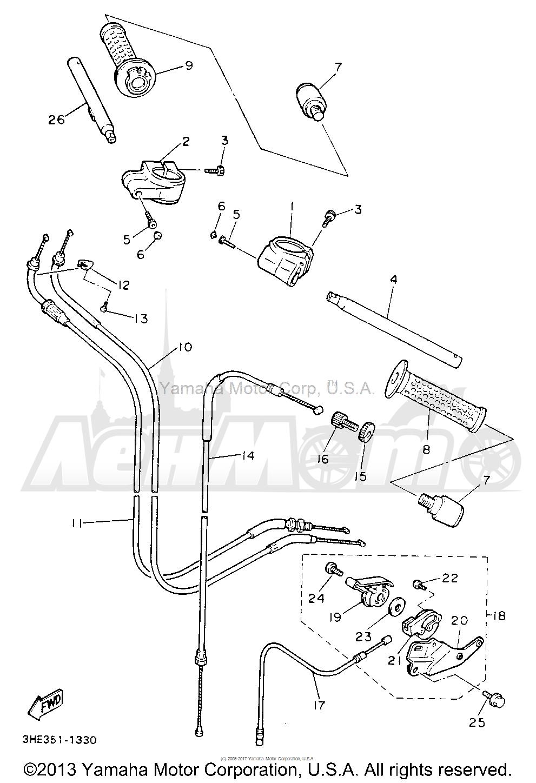 Запчасти для Мотоцикла Yamaha 1991 FZR600RBC Раздел: HANDLEBAR CABLE | руль трос, кабель