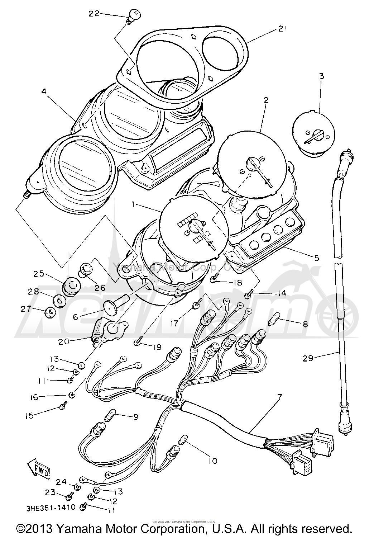 Запчасти для Мотоцикла Yamaha 1991 FZR600RBC Раздел: METER   счетчик