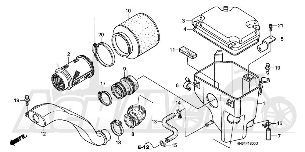 Запчасти для Квадроцикла Honda 2007 TRX250EX Раздел: AIR CLEANER | очиститель воздуха