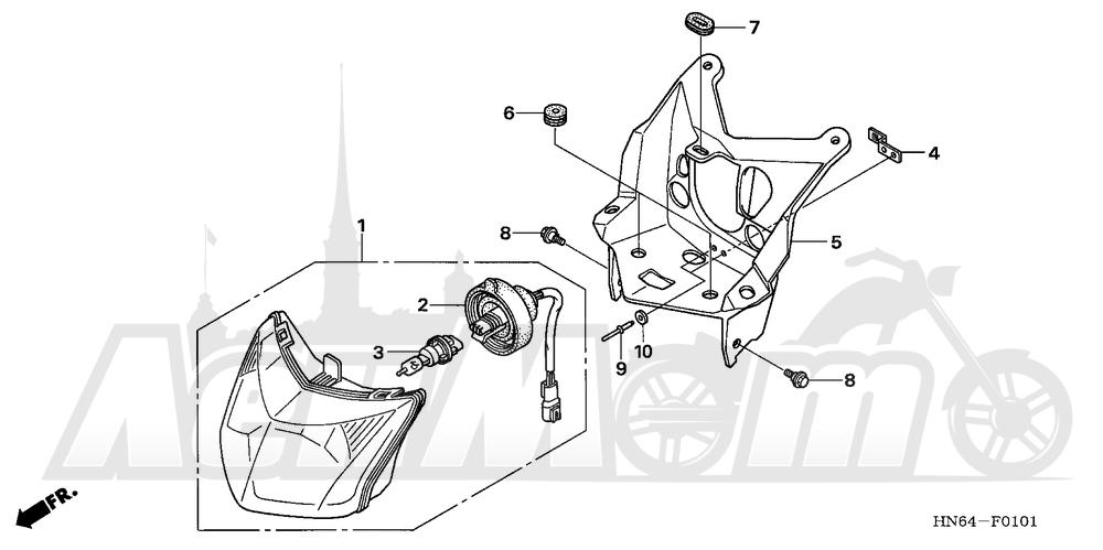 Запчасти для Квадроцикла Honda 2007 TRX250EX Раздел: HEADLIGHT (