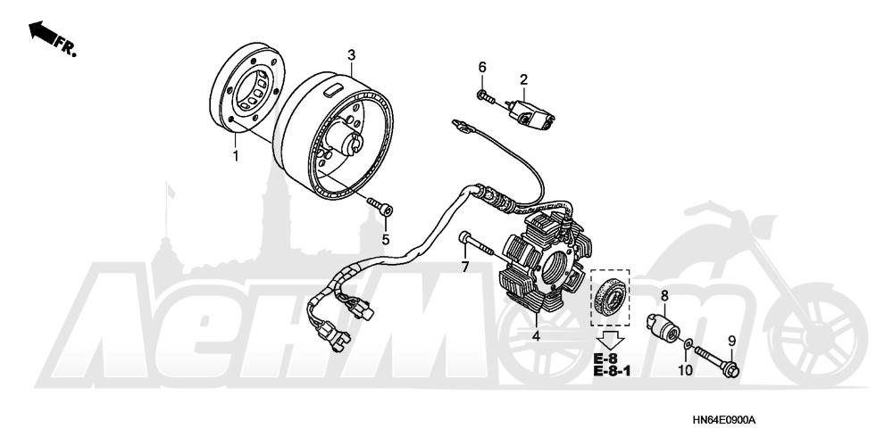 Запчасти для Квадроцикла Honda 2007 TRX250EX Раздел: ALTERNATOR | генератор