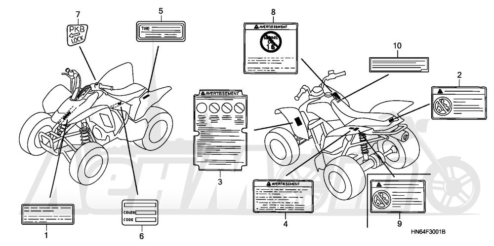 Запчасти для Квадроцикла Honda 2007 TRX250EX Раздел: LABELS (