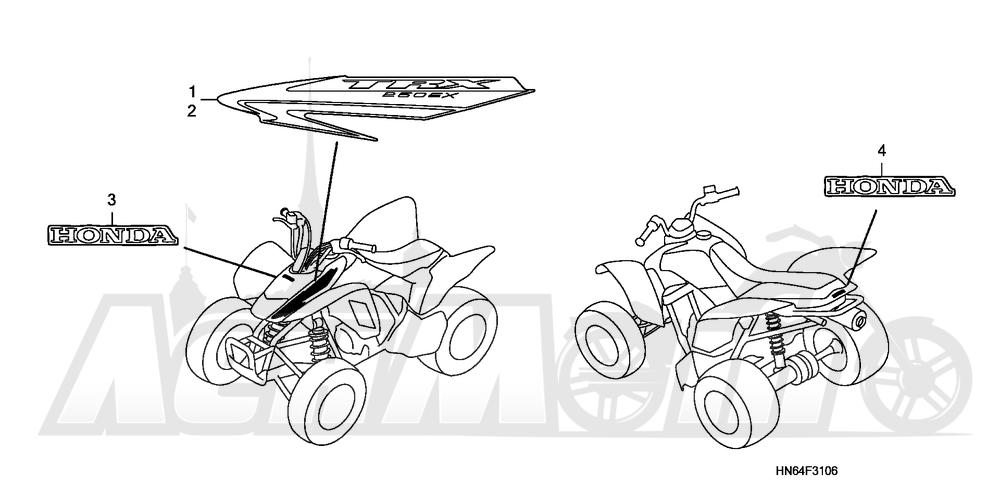 Запчасти для Квадроцикла Honda 2007 TRX250EX Раздел: MARKS (