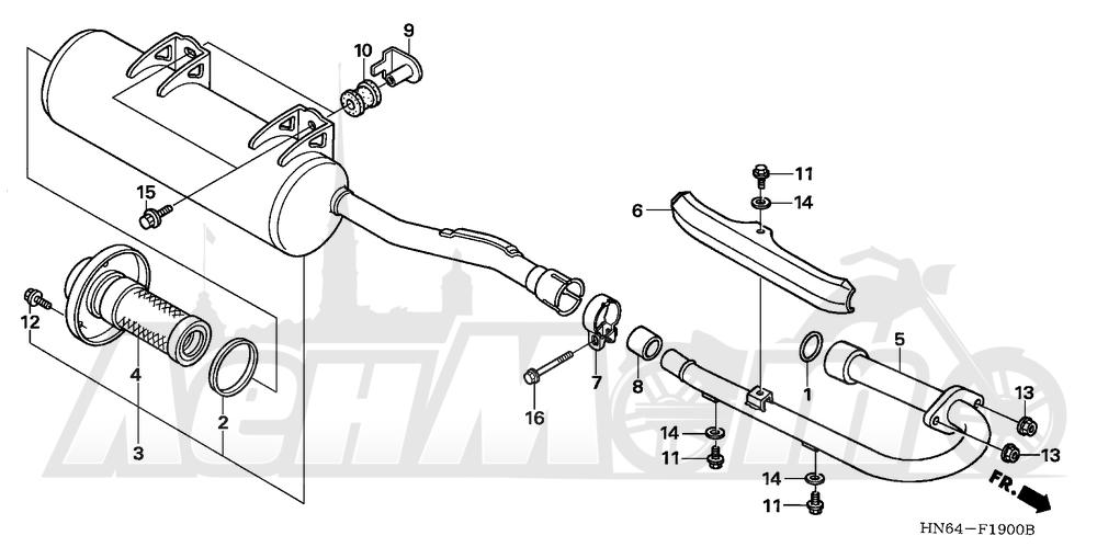 Запчасти для Квадроцикла Honda 2007 TRX250EX Раздел: MUFFLER | глушитель