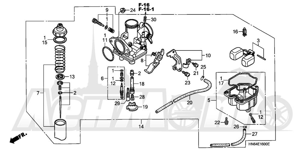 Запчасти для Квадроцикла Honda 2007 TRX250EX Раздел: CARBURETOR   карбюратор