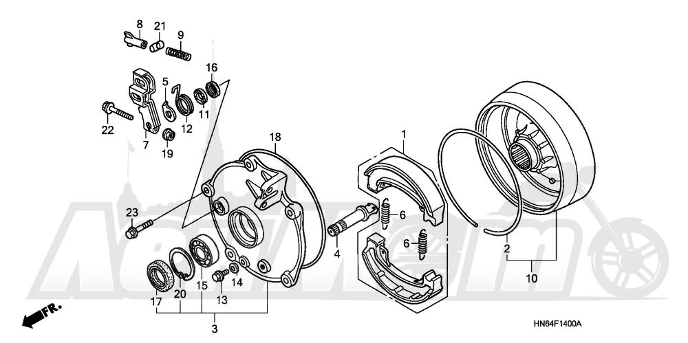 Запчасти для Квадроцикла Honda 2007 TRX250EX Раздел: REAR BRAKE DRUM | задний тормоз барабан