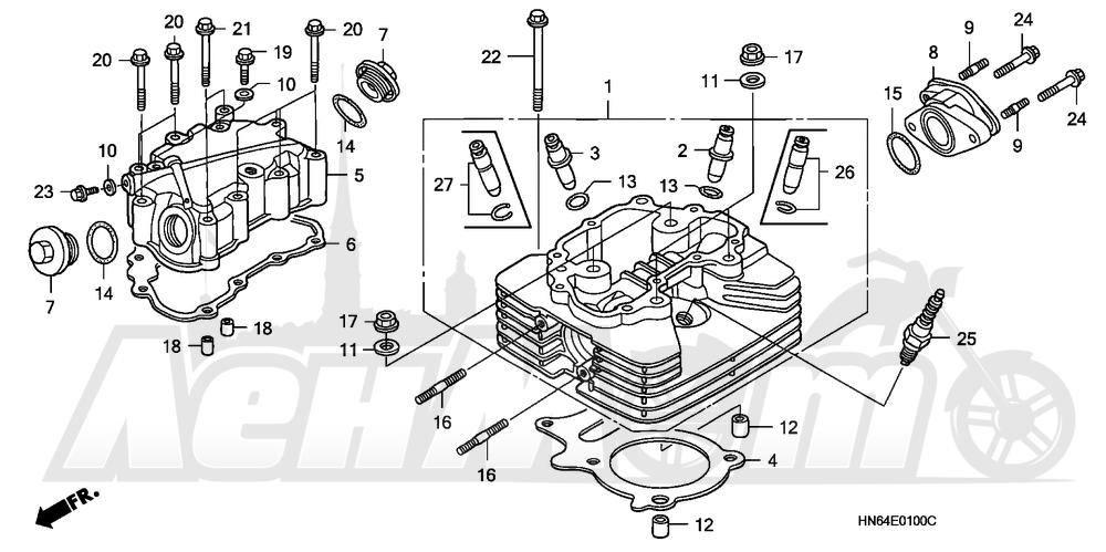 Запчасти для Квадроцикла Honda 2007 TRX250EX Раздел: CYLINDER HEAD | головка цилиндра
