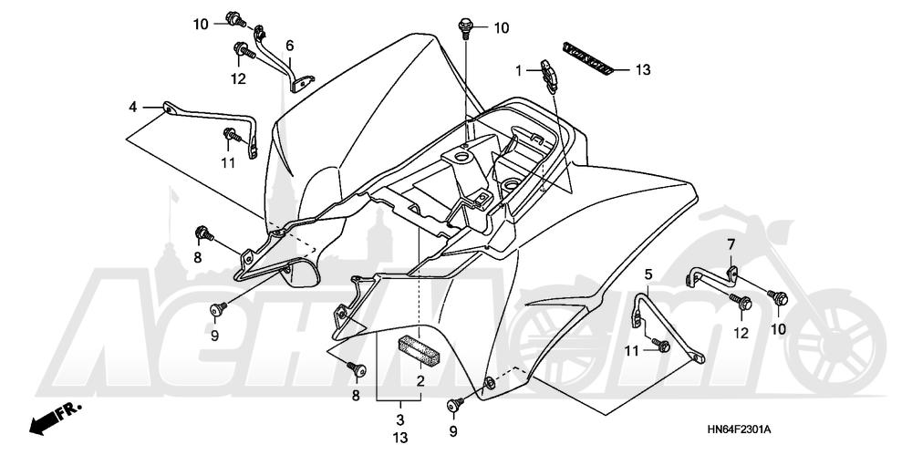 Запчасти для Квадроцикла Honda 2007 TRX250EX Раздел: REAR FENDER (