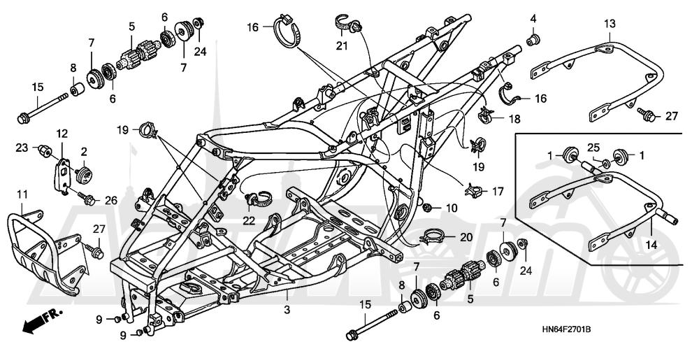 Запчасти для Квадроцикла Honda 2007 TRX250EX Раздел: FRAME (