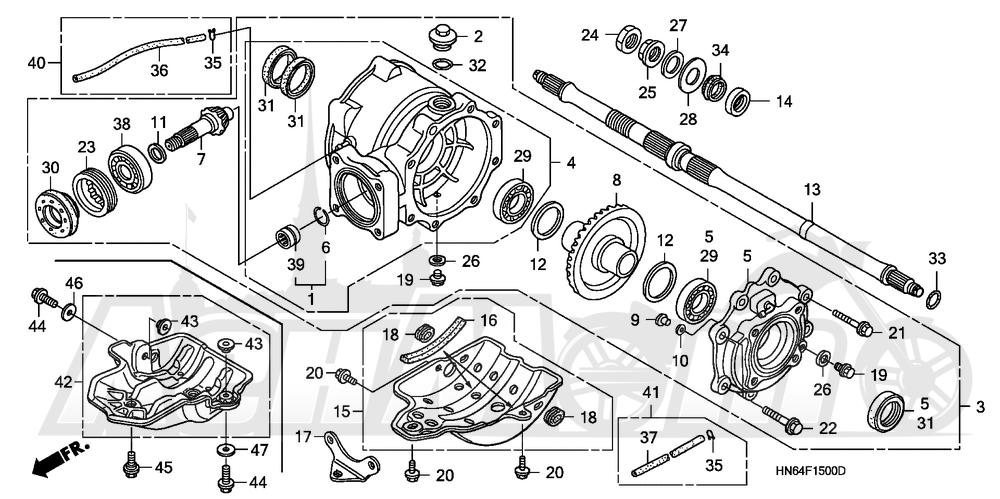 Запчасти для Квадроцикла Honda 2007 TRX250EX Раздел: REAR FINAL GEAR | зад FINAL шестерня