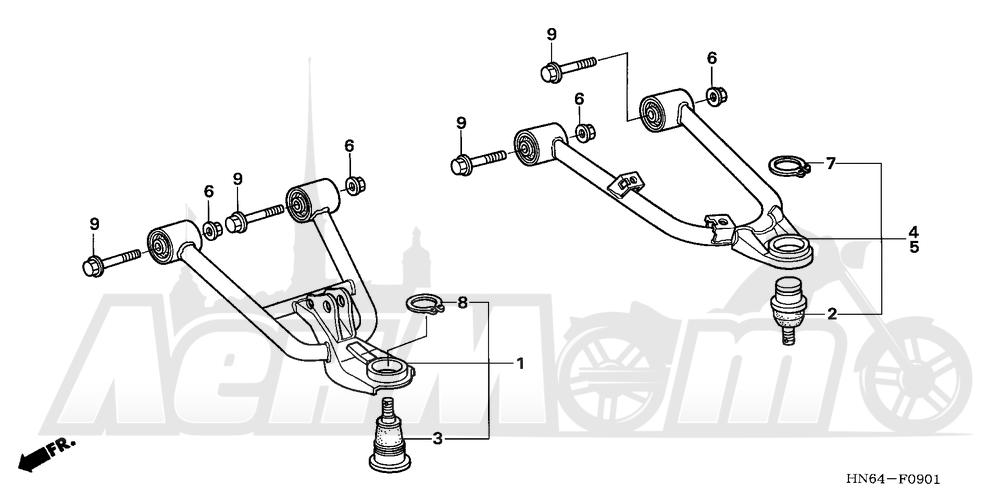 Запчасти для Квадроцикла Honda 2007 TRX250EX Раздел: FRONT ARM (