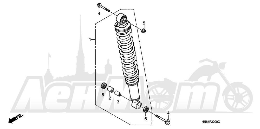 Запчасти для Квадроцикла Honda 2007 TRX250EX Раздел: REAR SHOCK ABSORBER | зад амортизатор