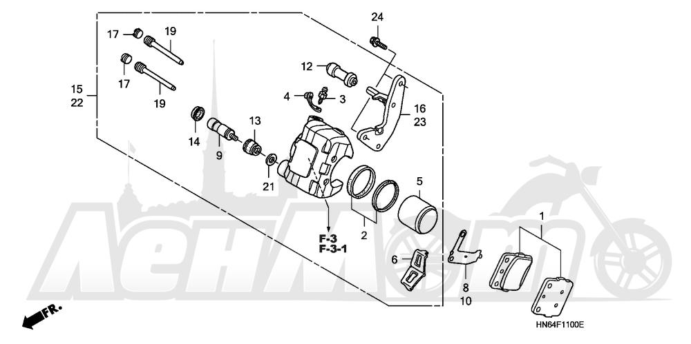 Запчасти для Квадроцикла Honda 2007 TRX250EX Раздел: FRONT BRAKE CALIPER | передний тормоз суппорт