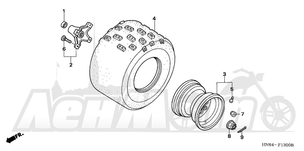 Запчасти для Квадроцикла Honda 2007 TRX250EX Раздел: REAR WHEEL | заднее колесо