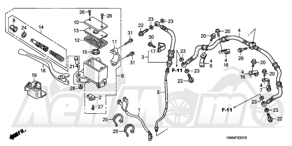 Запчасти для Квадроцикла Honda 2007 TRX250EX Раздел: FRONT BRAKE MASTER CYLINDER (
