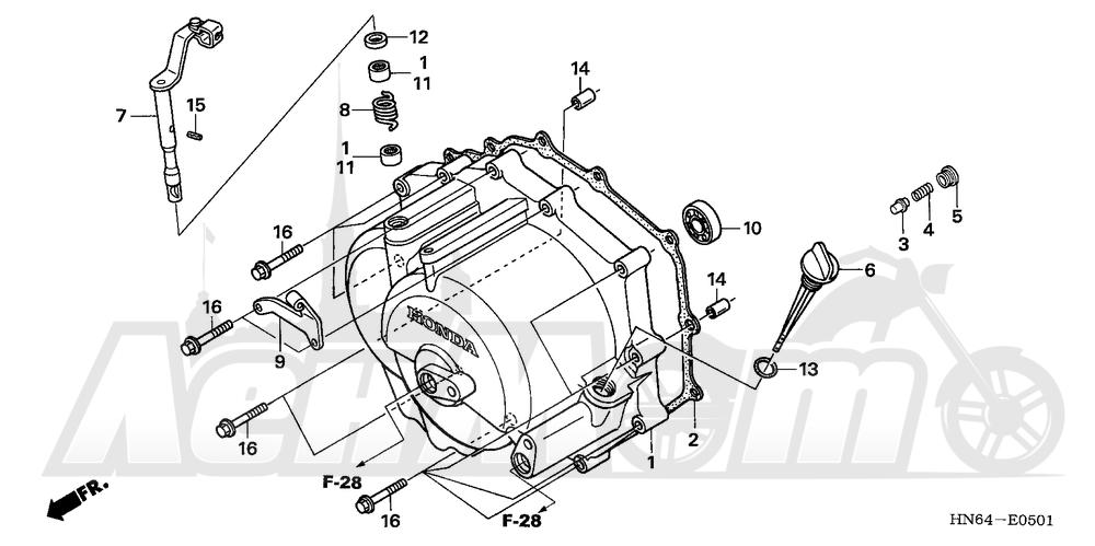Запчасти для Квадроцикла Honda 2007 TRX250EX Раздел: FRONT CRANKCASE COVER (