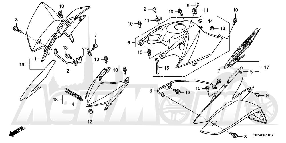 Запчасти для Квадроцикла Honda 2007 TRX250EX Раздел: FRONT FENDER (