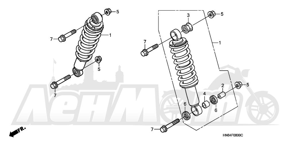 Запчасти для Квадроцикла Honda 2007 TRX250EX Раздел: FRONT SHOCK ABSORBER | перед амортизатор
