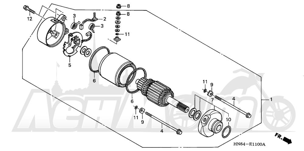Запчасти для Квадроцикла Honda 2007 TRX250EX Раздел: STARTER MOTOR | электростартер