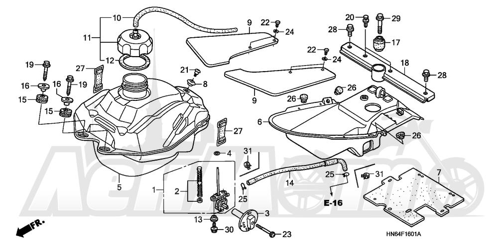 Запчасти для Квадроцикла Honda 2007 TRX250EX Раздел: FUEL TANK (