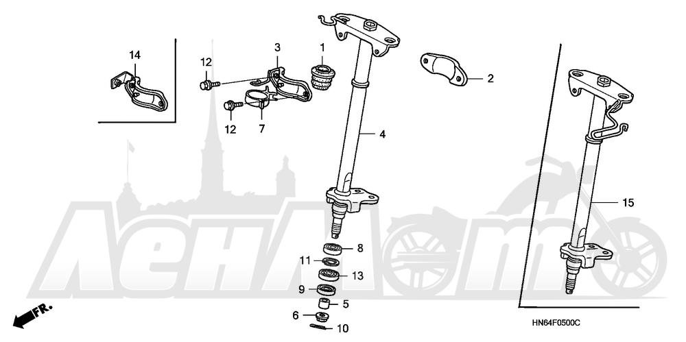 Запчасти для Квадроцикла Honda 2007 TRX250EX Раздел: STEERING SHAFT | рулевой вал