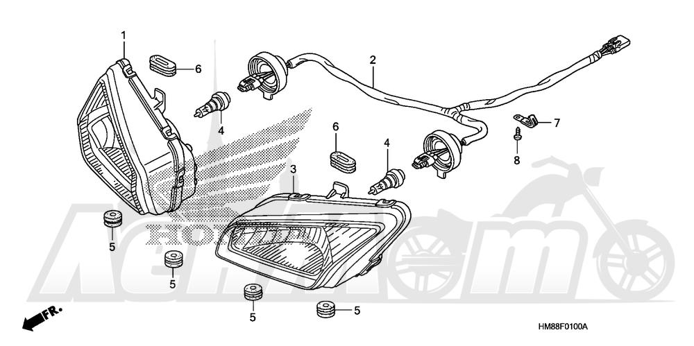 Запчасти для Квадроцикла Honda 2007 TRX250TE Раздел: HEADLIGHT | передняя фара