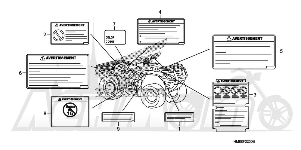 Запчасти для Квадроцикла Honda 2007 TRX250TE Раздел: LABELS | этикетки, метки